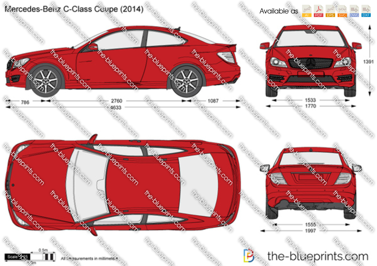 mercedes benz c class coupe w205 vector drawing. Black Bedroom Furniture Sets. Home Design Ideas