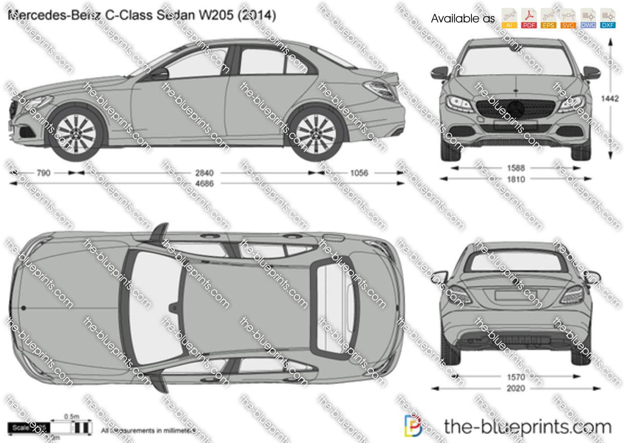 The vector drawing mercedes benz c for 2016 mercedes benz c class dimensions
