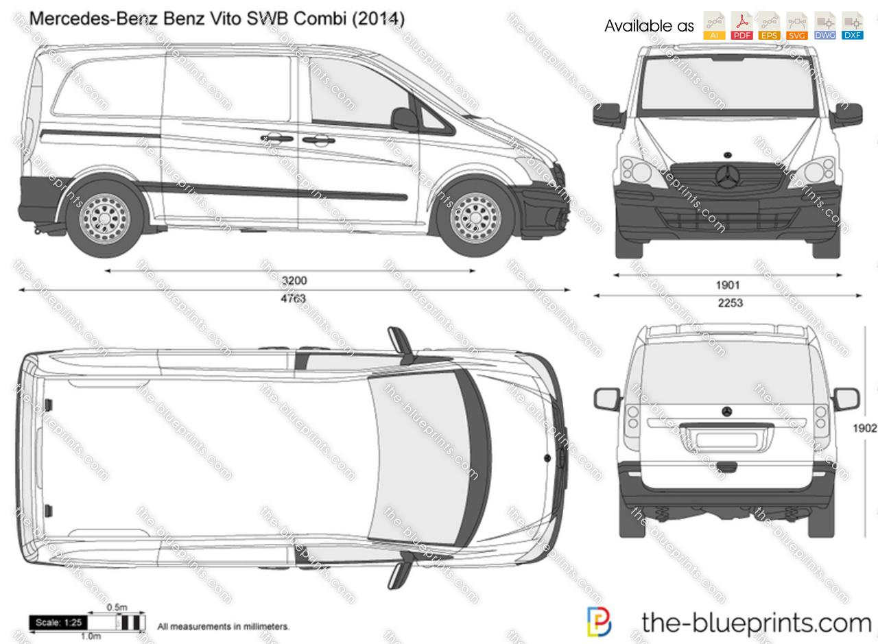 mercedes benz vito swb combi vector drawing. Black Bedroom Furniture Sets. Home Design Ideas