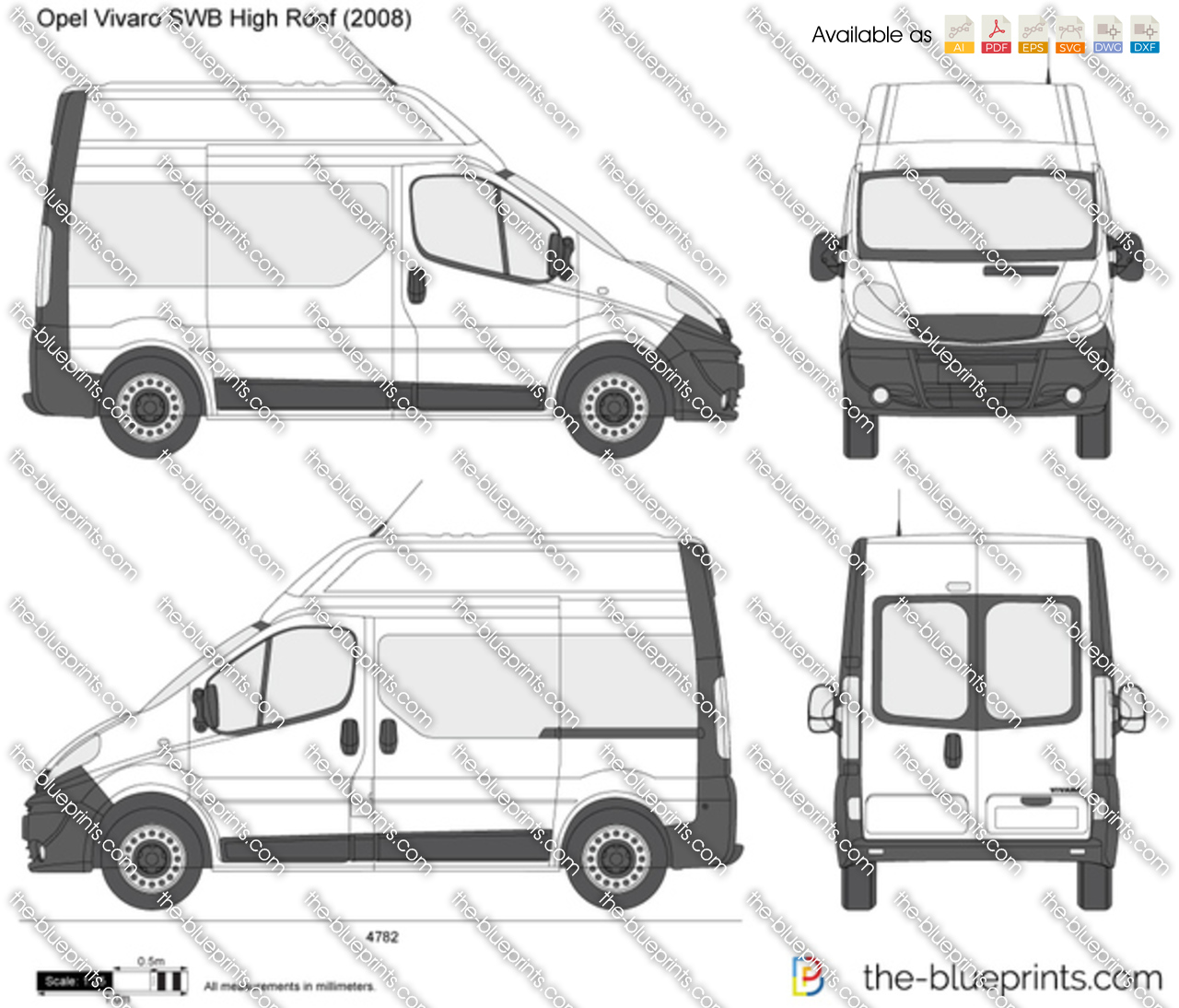 opel vivaro swb high roof vector drawing. Black Bedroom Furniture Sets. Home Design Ideas