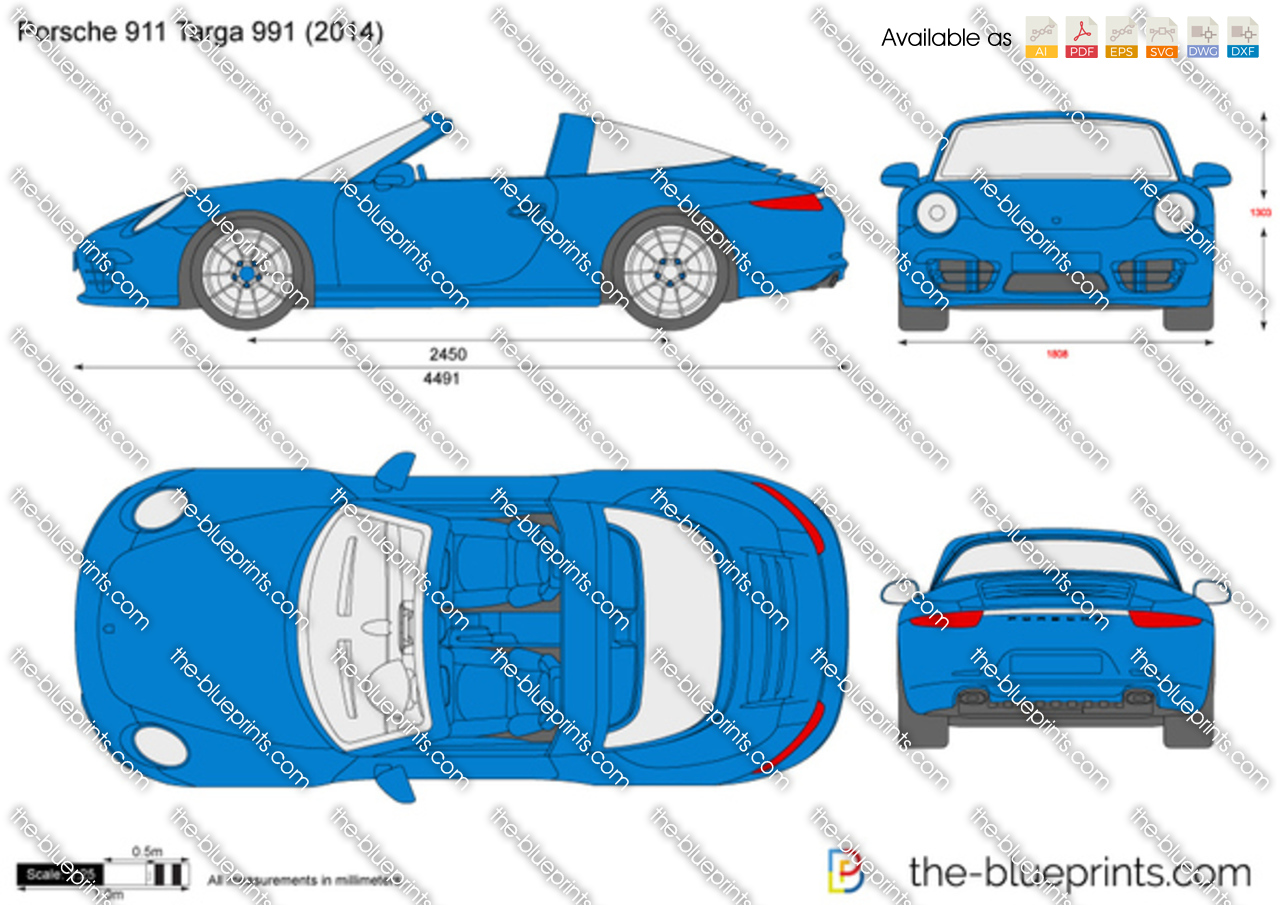 Porsche 911 Targa 991 vector drawing