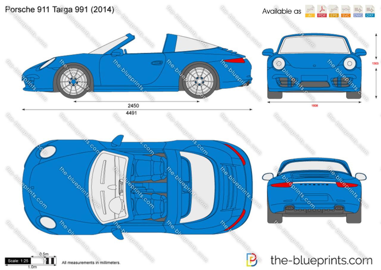 The Blueprints Com Vector Drawing Porsche 911 Targa 991