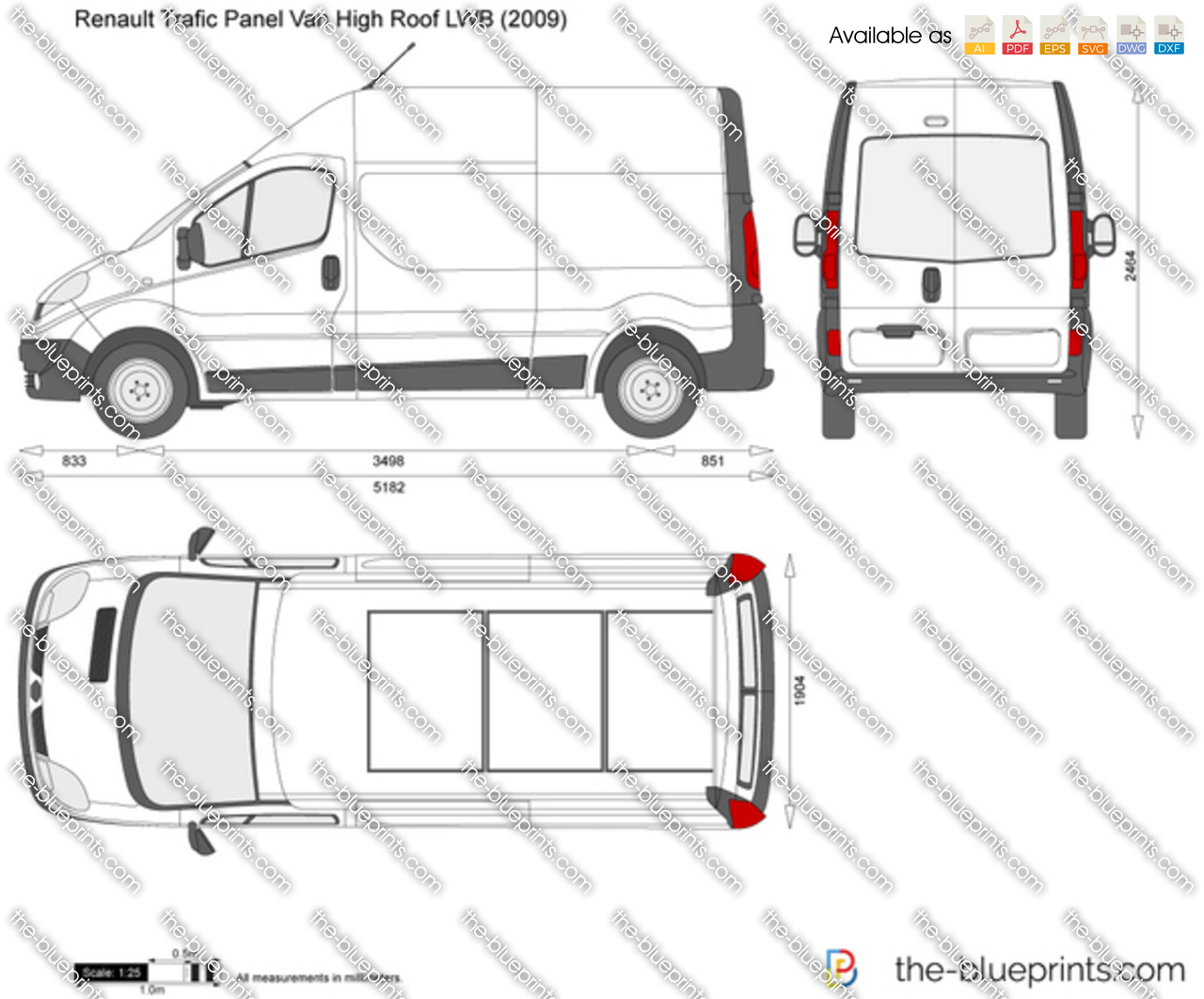 renault trafic panel van high roof lwb vector drawing. Black Bedroom Furniture Sets. Home Design Ideas