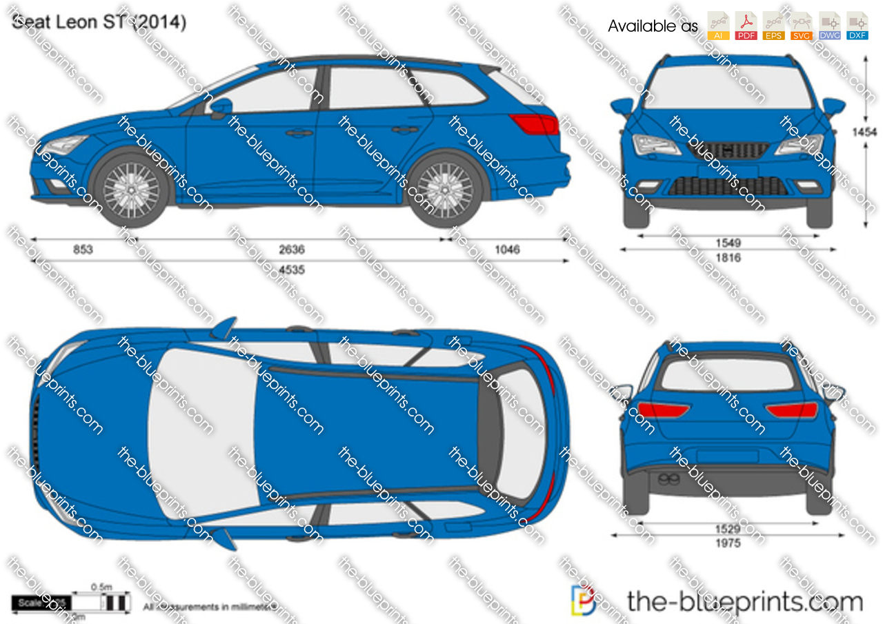 Seat Leon St Vector Drawing