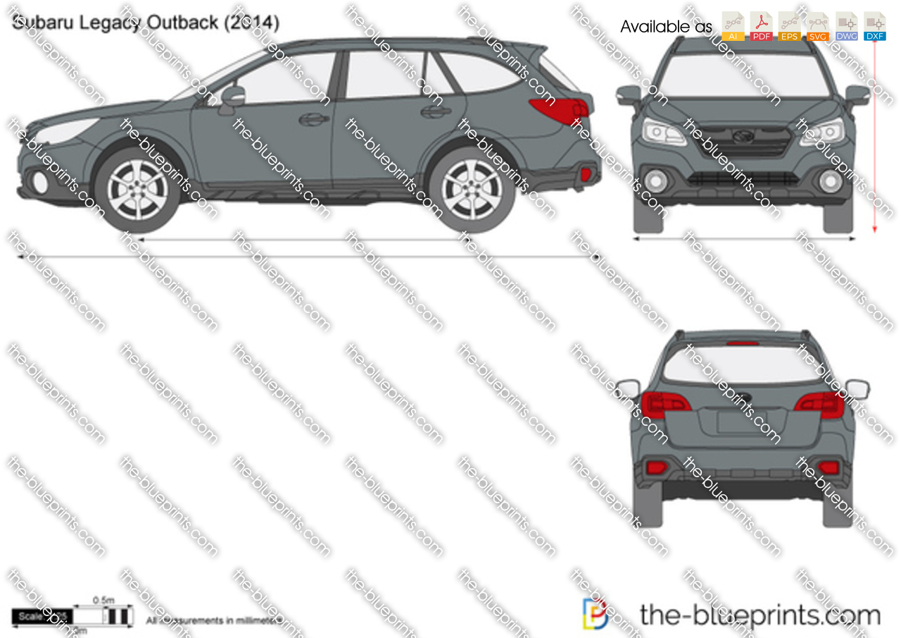 Subaru Legacy Outback Vector Drawing 2000