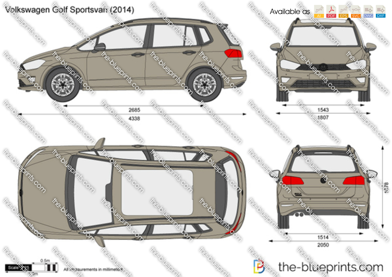 volkswagen golf sportsvan vector drawing. Black Bedroom Furniture Sets. Home Design Ideas