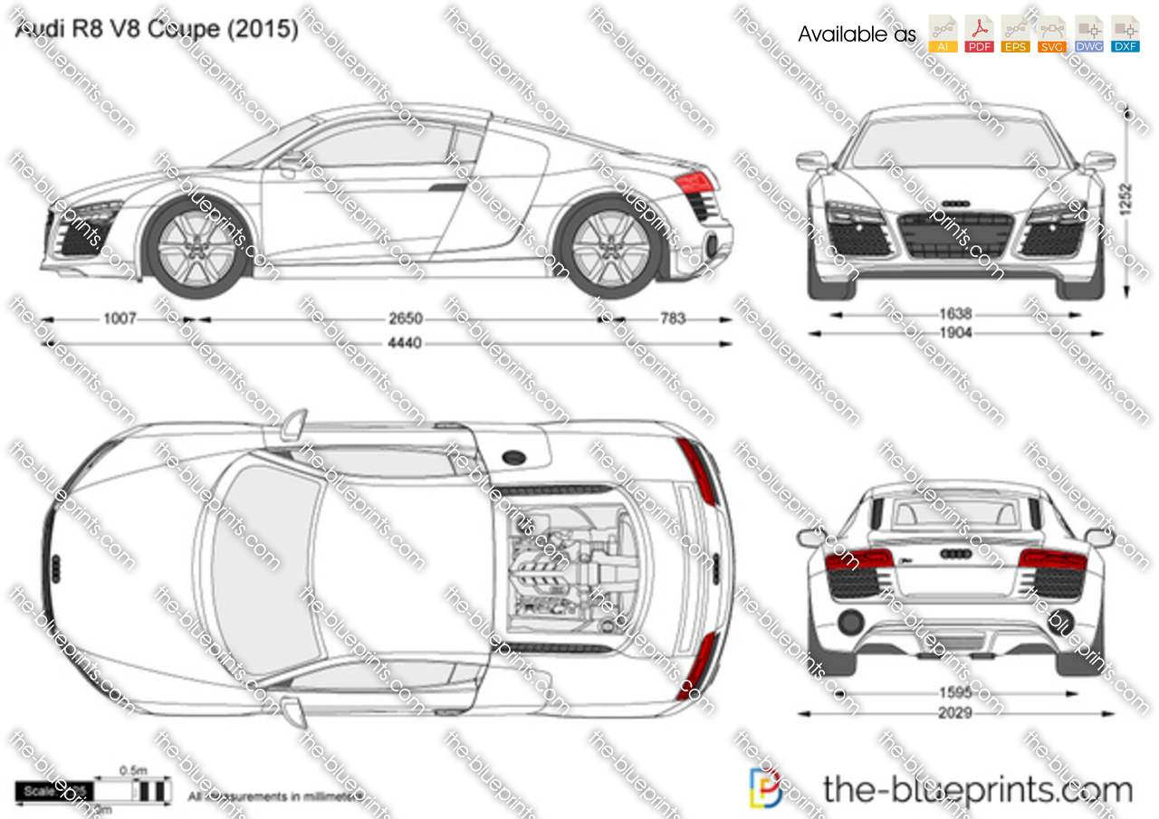 Audi R8 V8 Coupe Vector Drawing