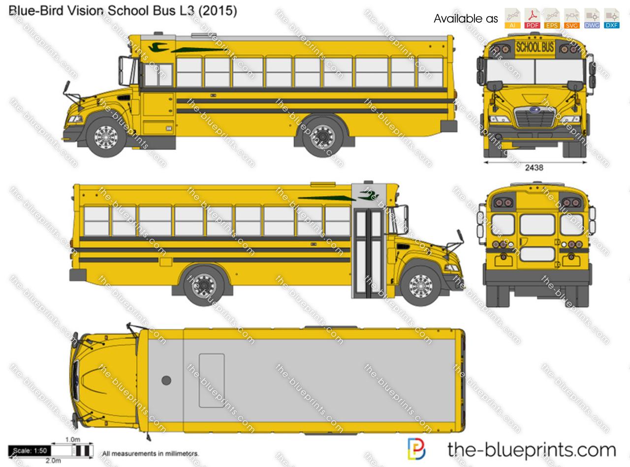 Blue Bird Vision School Bus L3 vector drawing