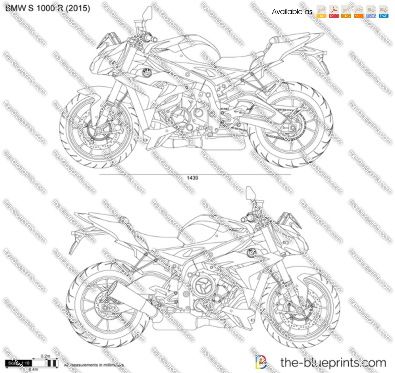 bmw s 1000 r vector drawing