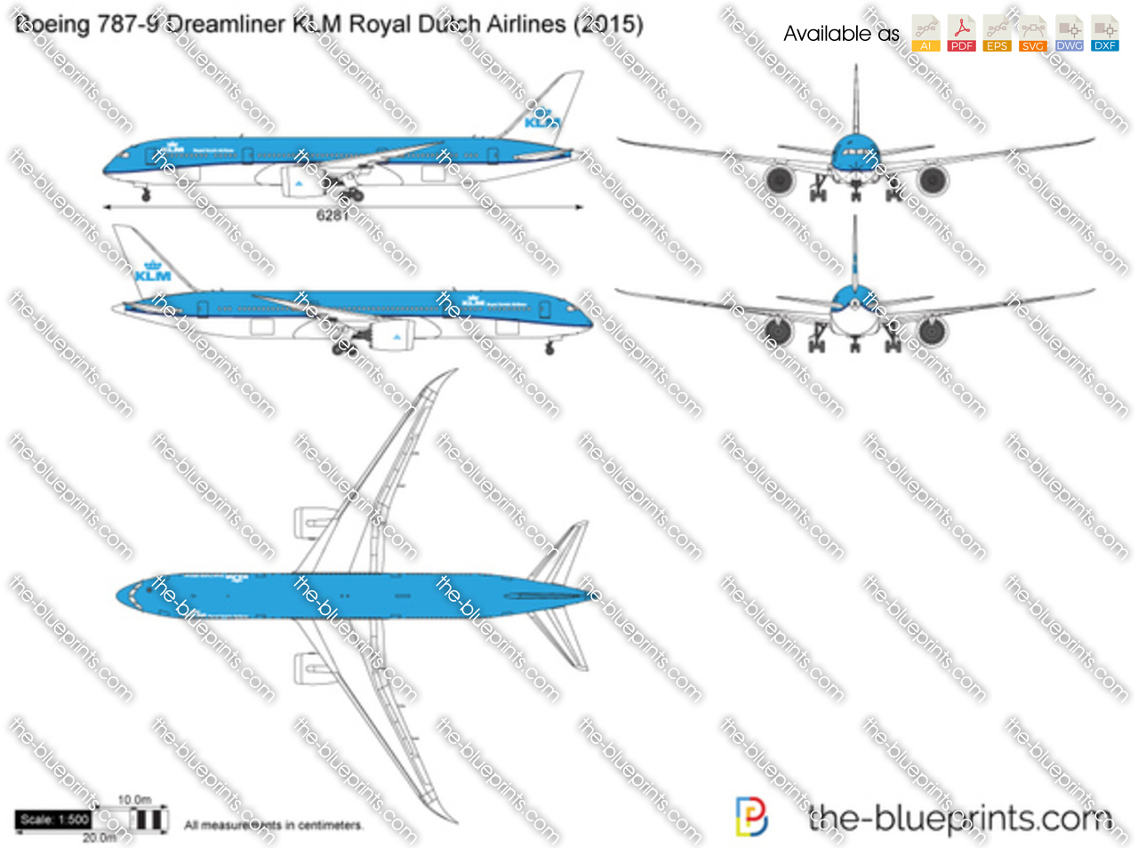 Boeing Dreamliner KLM Royal Dutch Airlines Vector Drawing - Invoice klm