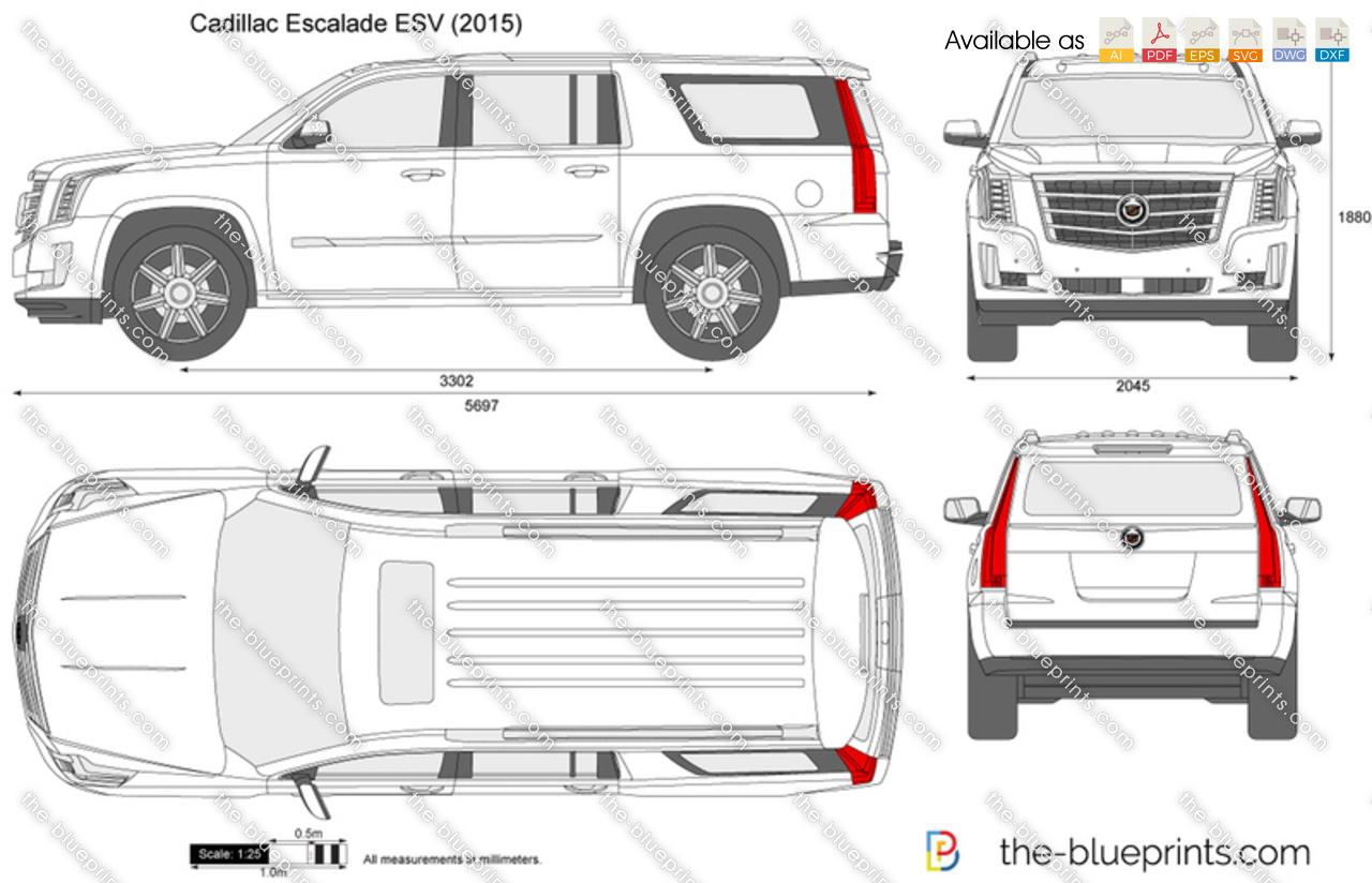 Cadillac Escalade Esv Vector Drawing 2015 Gmc