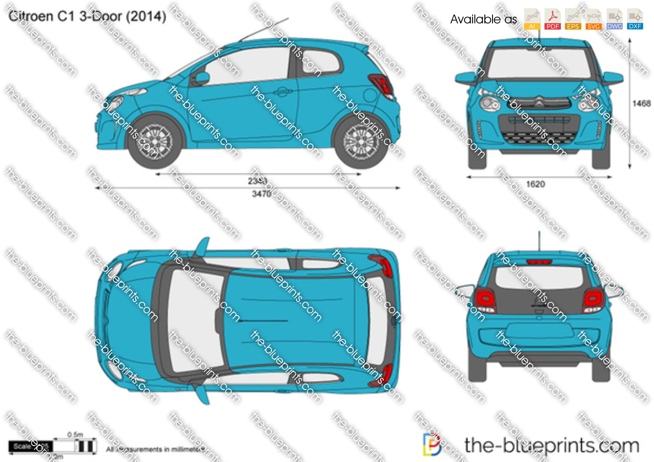 citroen c1 3 door vector drawing. Black Bedroom Furniture Sets. Home Design Ideas