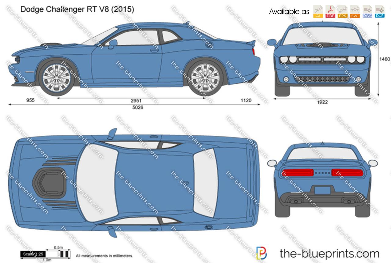 Dodge Challenger R/T V8 vector drawing