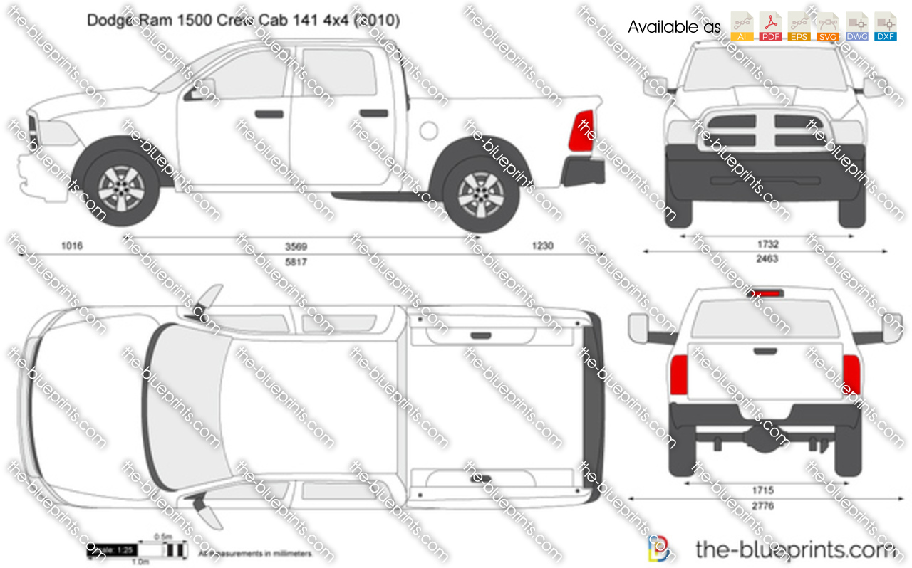 Dodge Ram 1500 Crew Cab 141 4x4 vector drawing