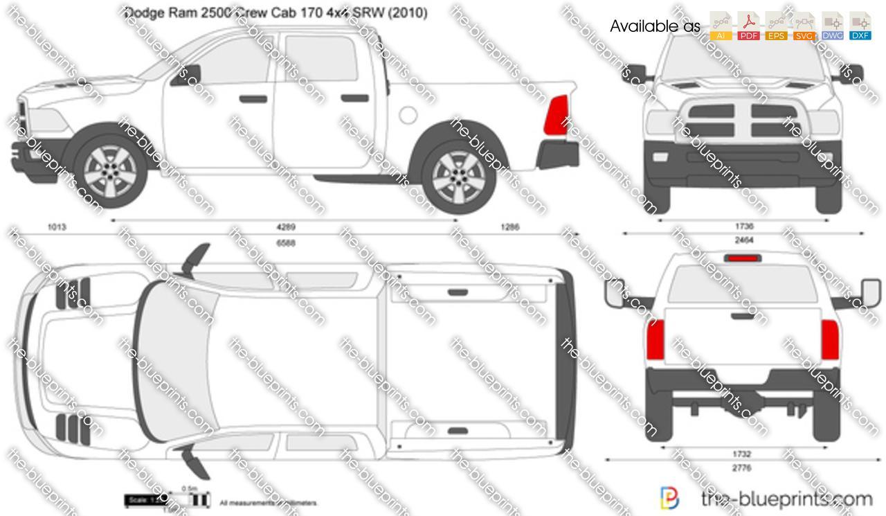 Dodge Ram 2500 Crew Cab 170 4x4 Srw Vector Drawing