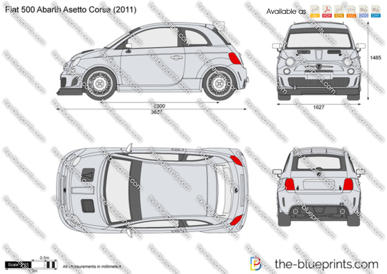 Fiat 500 Abarth Asetto Corse Vector Drawing