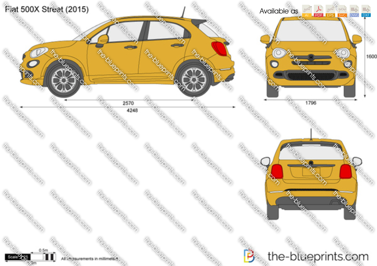 the-blueprints - vector drawing - fiat 500x street
