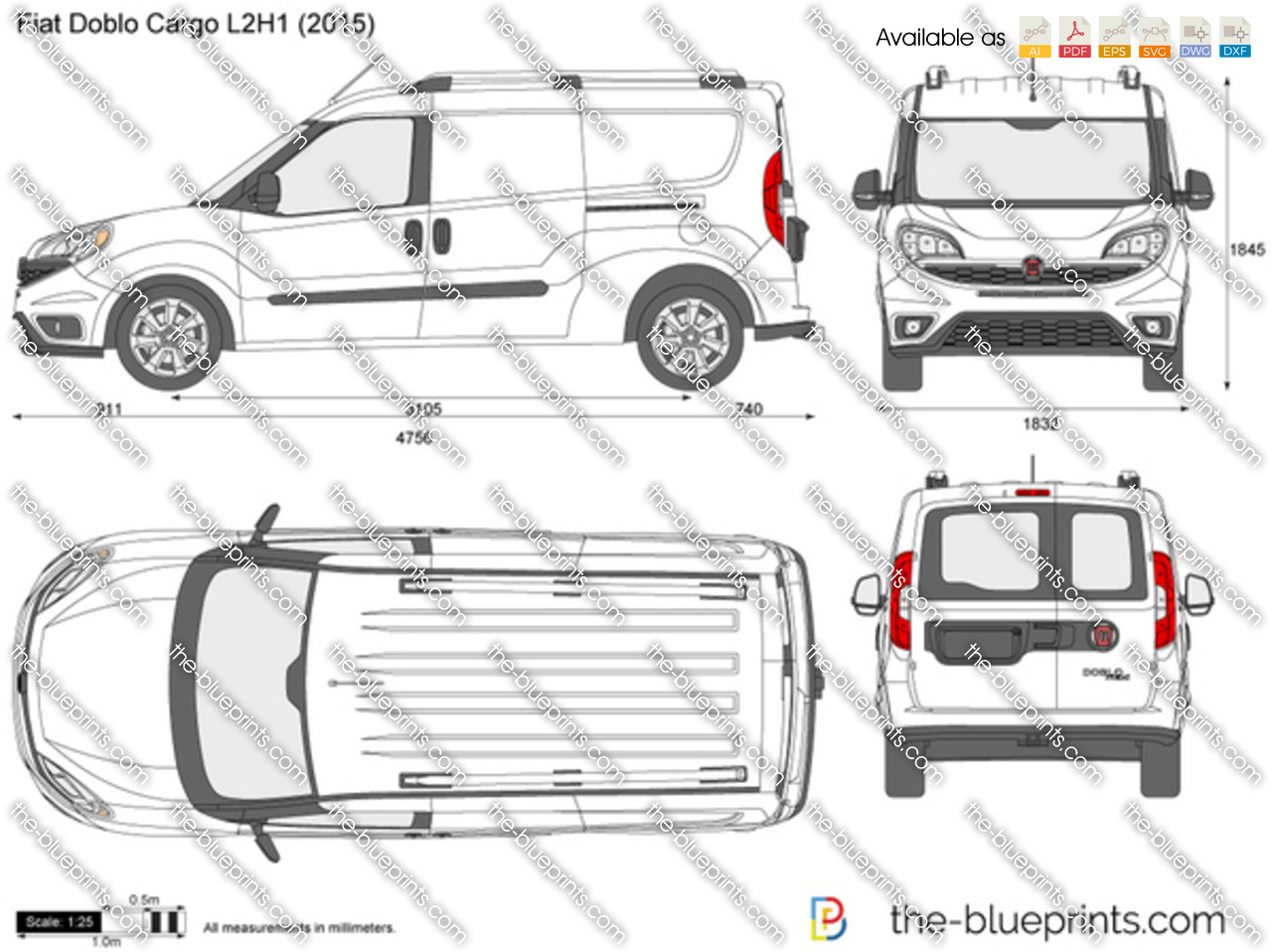 fiat doblo cargo l2h1 vector drawing. Black Bedroom Furniture Sets. Home Design Ideas