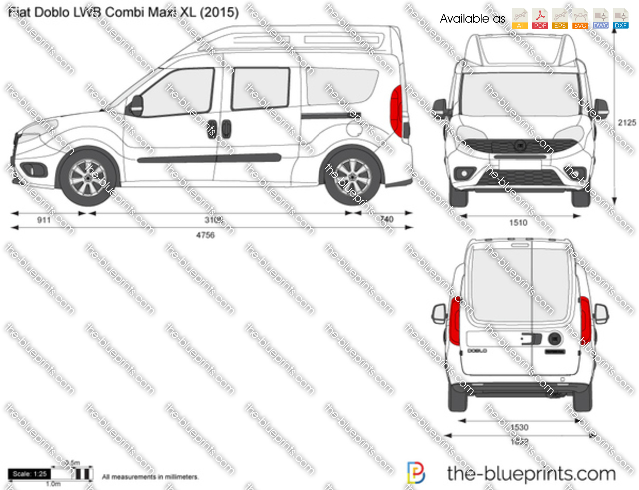 the vector drawing fiat doblo lwb combi maxi xl. Black Bedroom Furniture Sets. Home Design Ideas