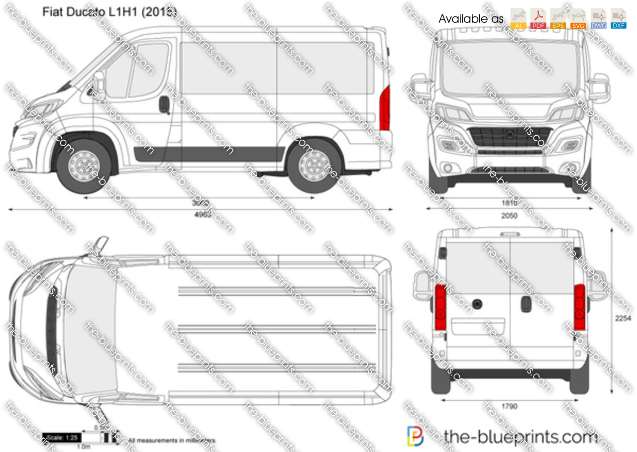 Fiat Ducato L1h1 Vector Drawing