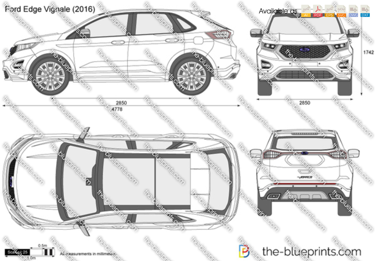 Ford Edge Dimensions Ford Edge Vignale Vector Drawing