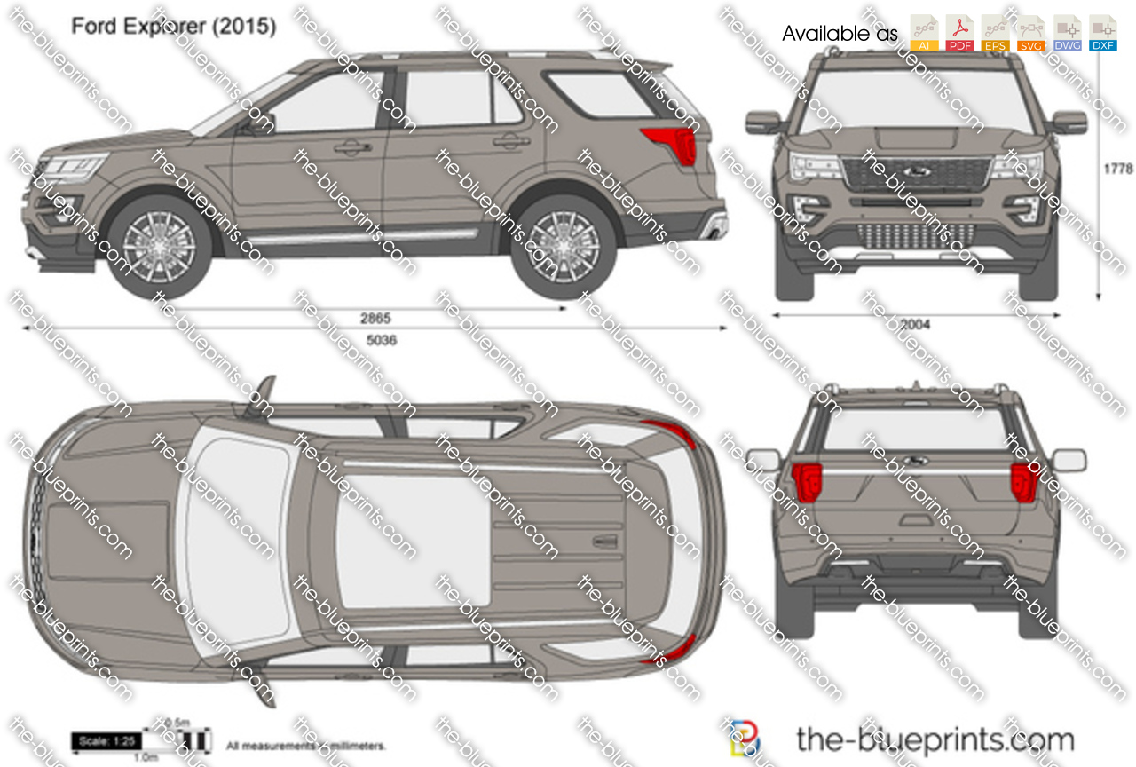 The blueprints vector drawing ford explorer exterior dimensions