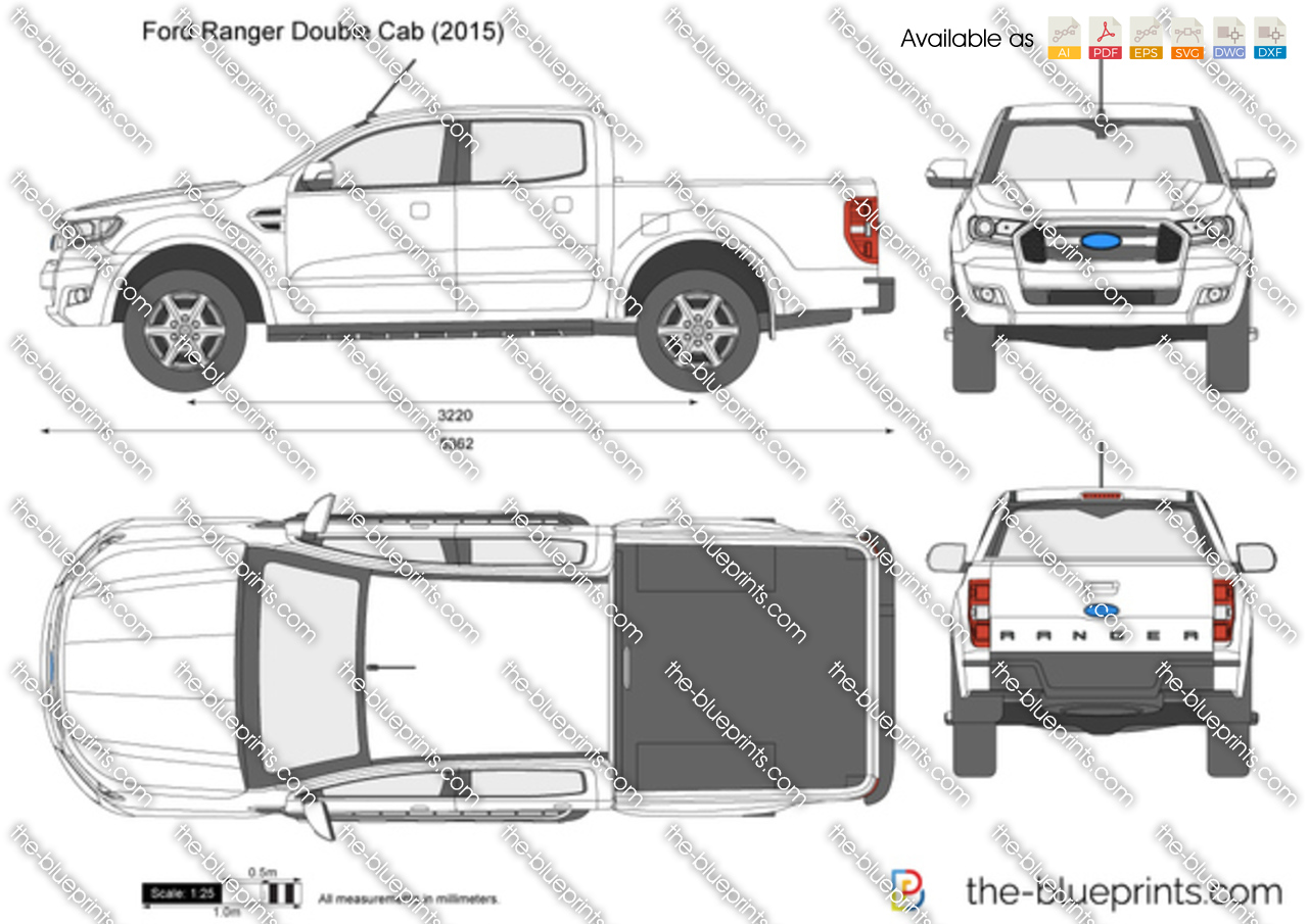 Ford Ranger Double Cab Vector Drawing
