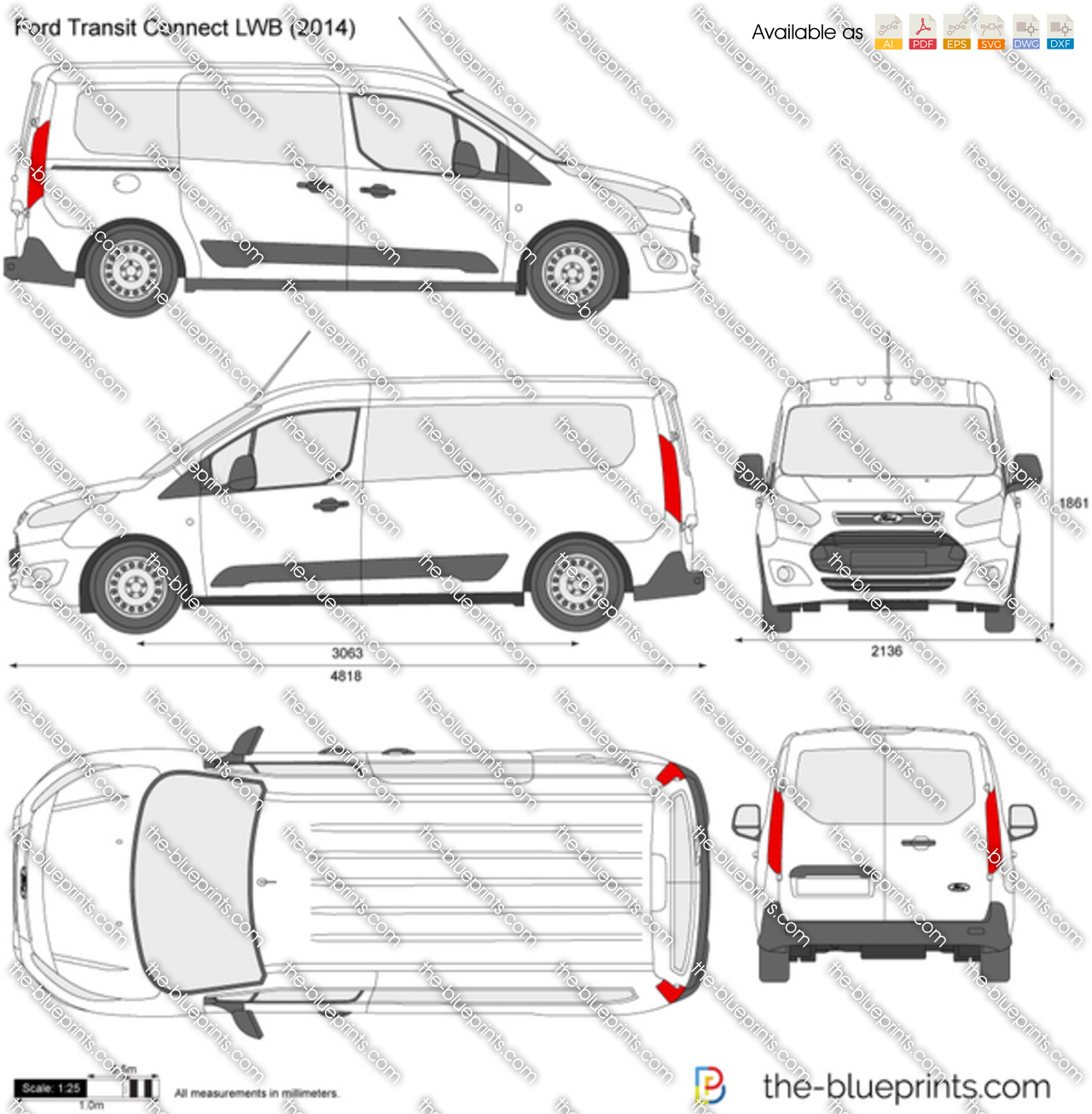 Ford transit connect lwb vector drawing for Custom blueprints
