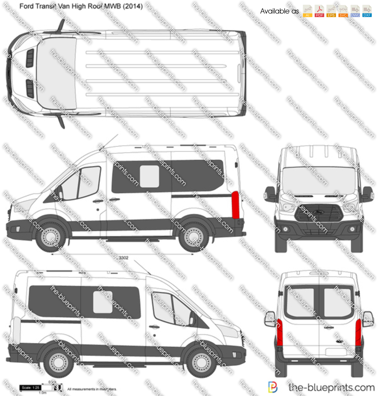 Ford Transit Van High Roof Mwb Vector Drawing