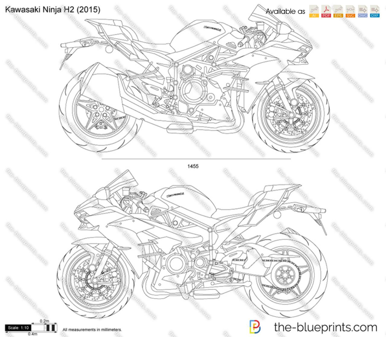 The Blueprints Com Vector Drawing Kawasaki Ninja H2