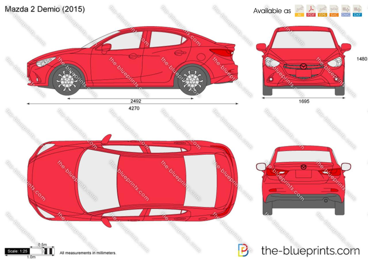 Mazda 2 demio vector drawing mazda 2 demio malvernweather Gallery
