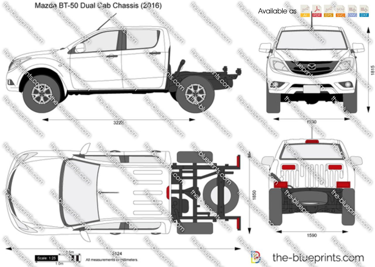 Mazda Bt 50 Dual Cab Chassis Vector Drawing