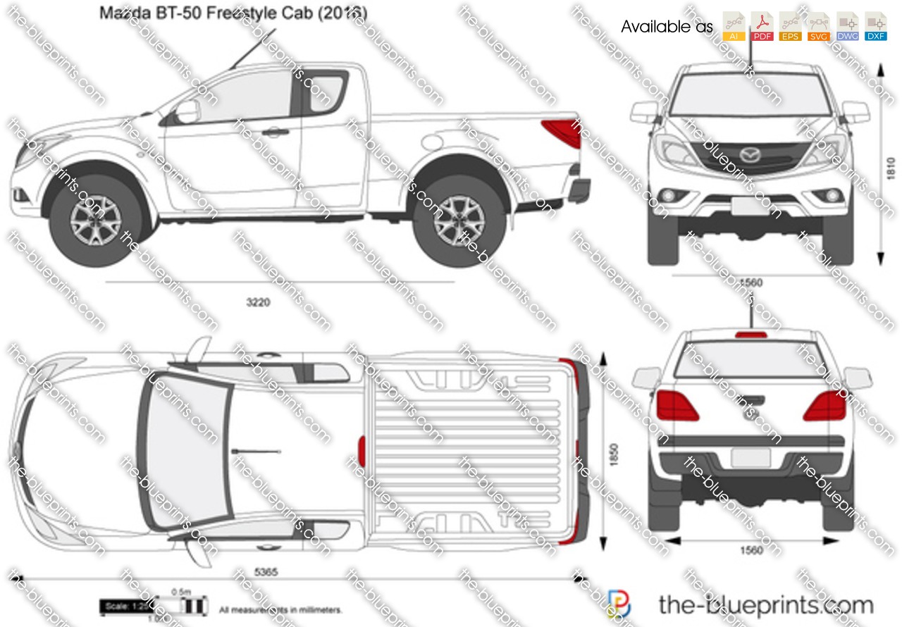 the-blueprints - vector drawing - mazda bt-50 freestyle cab