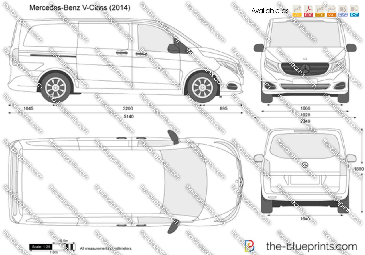 Mercedes Benz V Class Vector Drawing