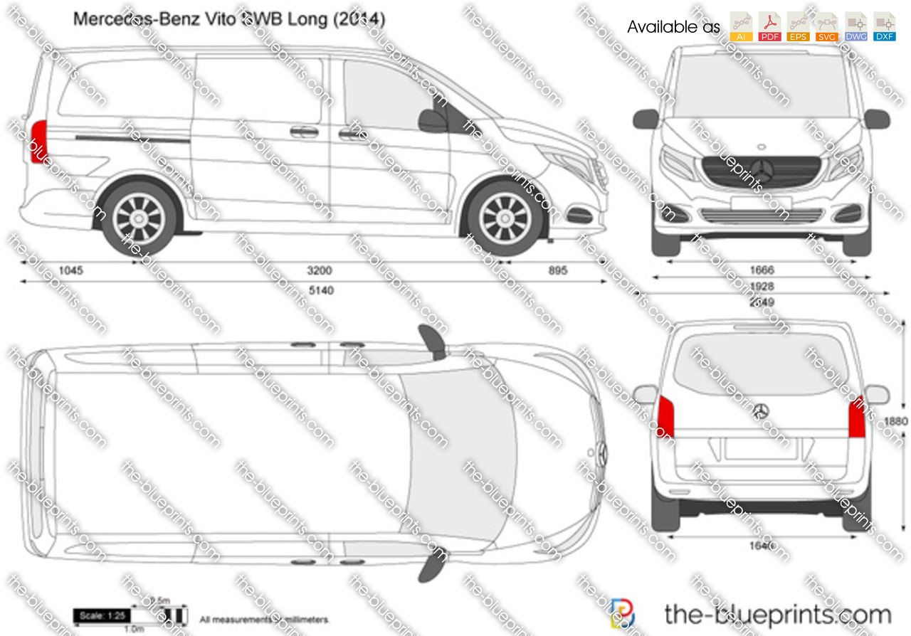 mercedes benz vito swb long w447 vector drawing. Black Bedroom Furniture Sets. Home Design Ideas