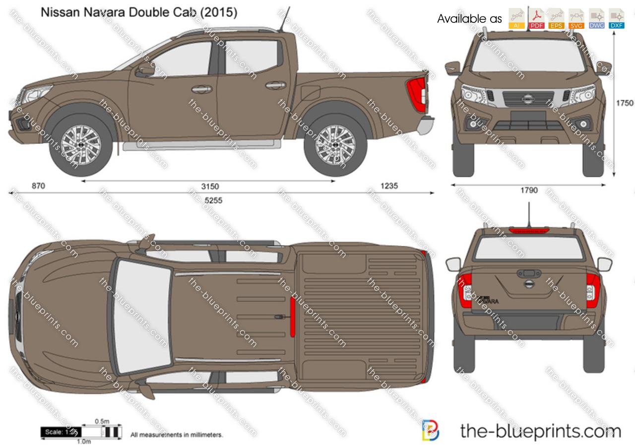 Nissan Navara Measurements >> Nissan Navara Double Cab vector drawing
