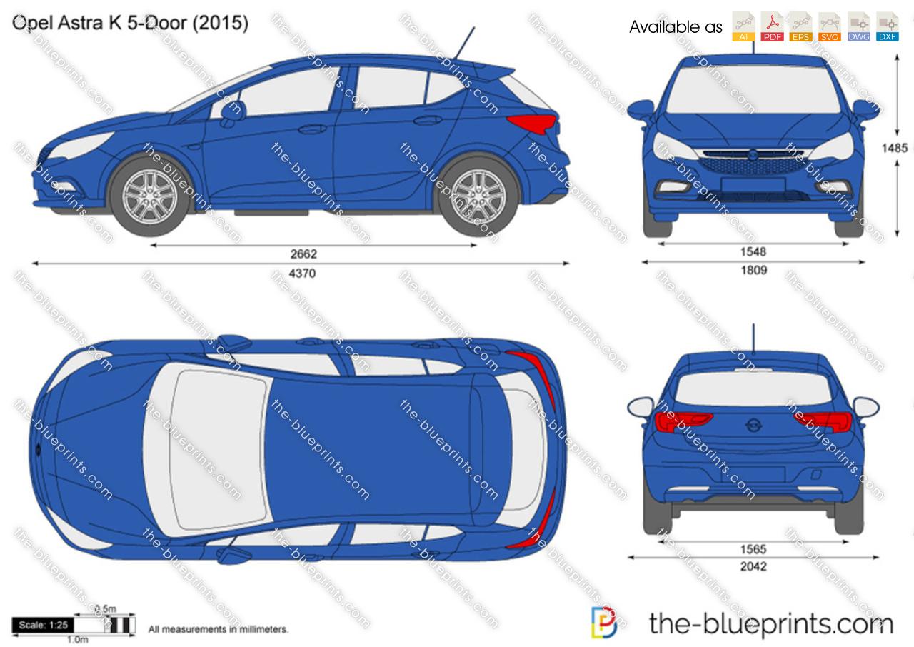 Opel Astra K 5-Door vector drawing