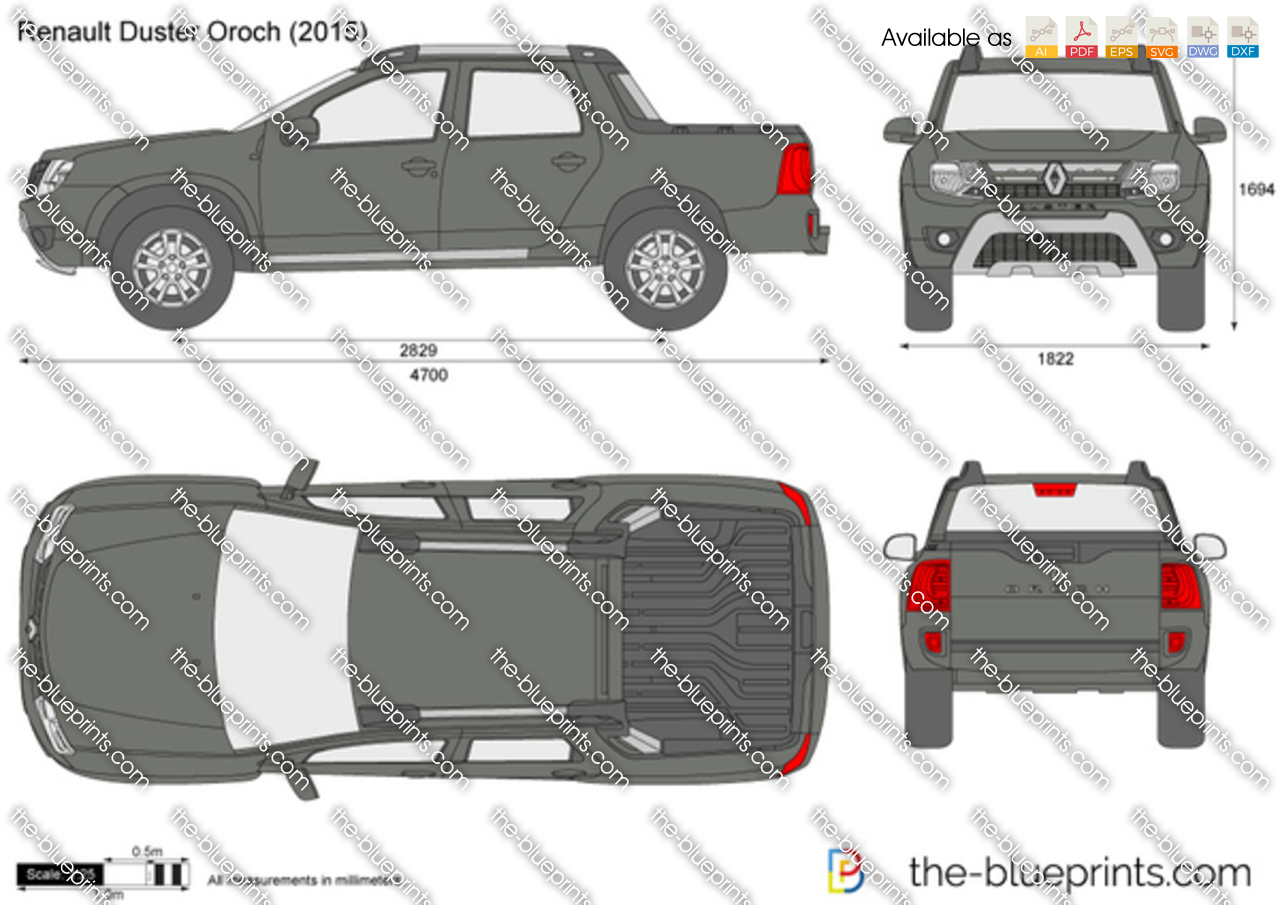 Renault Duster Oroch vector drawing