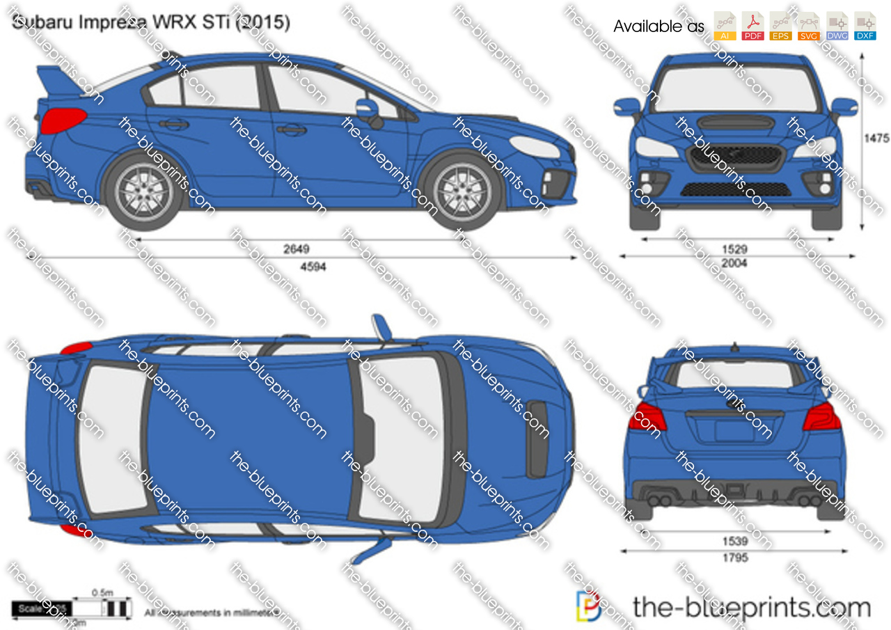 The-Blueprints.com - Vector Drawing - Subaru Impreza WRX STi