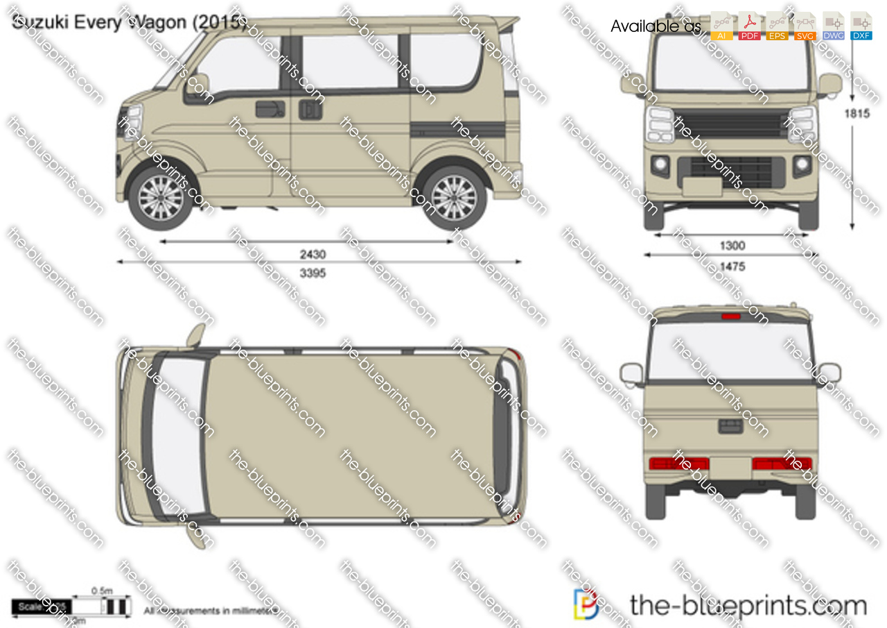Suzuki Every Wagon Vector Drawing
