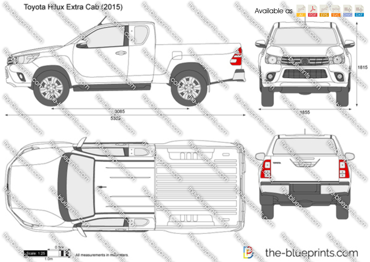 Toyota Hilux Extra Cab Vector Drawing