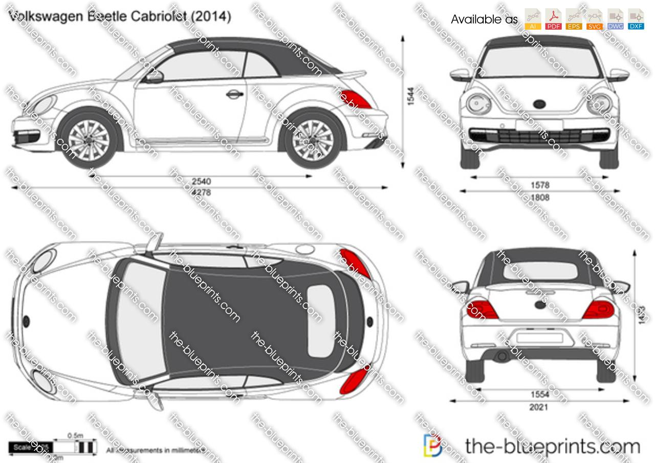 Volkswagen Beetle Cabriolet vector drawing