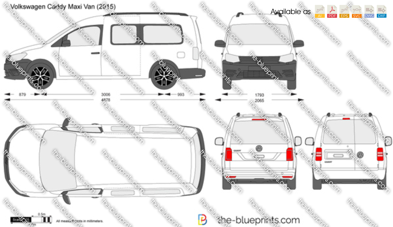 Volkswagen Caddy Maxi Van Vector Drawing