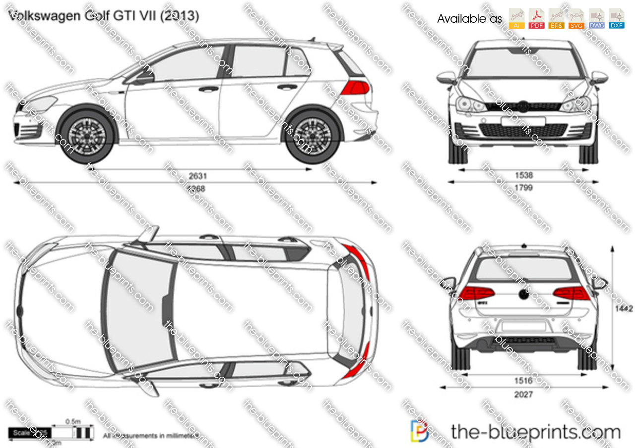 volkswagen golf gti vii vector drawing