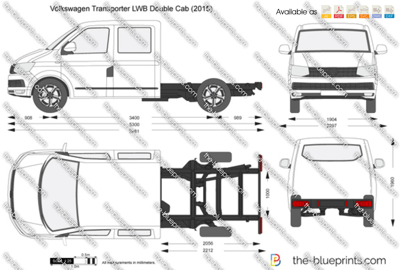 volkswagen transporter t6 lwb double cab vector drawing. Black Bedroom Furniture Sets. Home Design Ideas