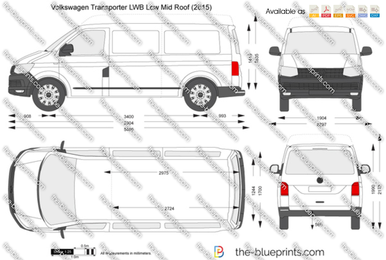 volkswagen transporter t6 lwb low mid roof vector drawing