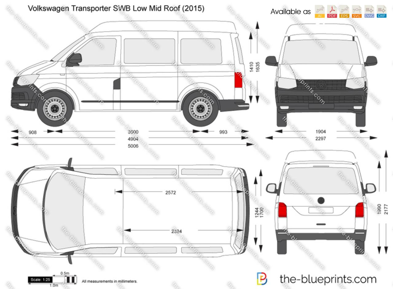 The Blueprints Vector Drawing Volkswagen Transporter T6