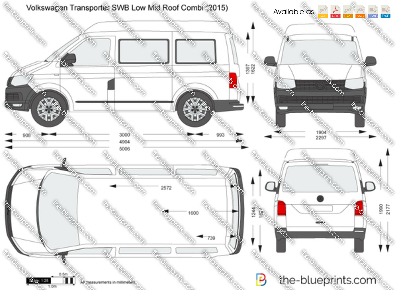 volkswagen transporter t6 swb low mid roof combi vector drawing. Black Bedroom Furniture Sets. Home Design Ideas