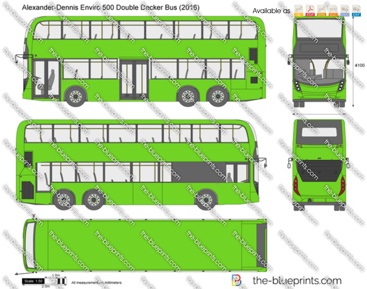 Alexander Dennis Enviro 500 Double Decker Bus Vector Drawing