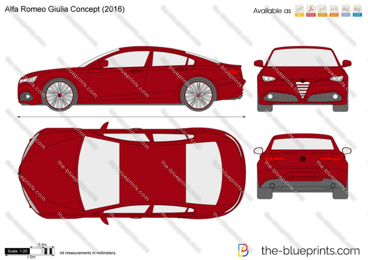 The-Blueprints.com - Vector Drawing - Alfa Romeo Giulia Concept